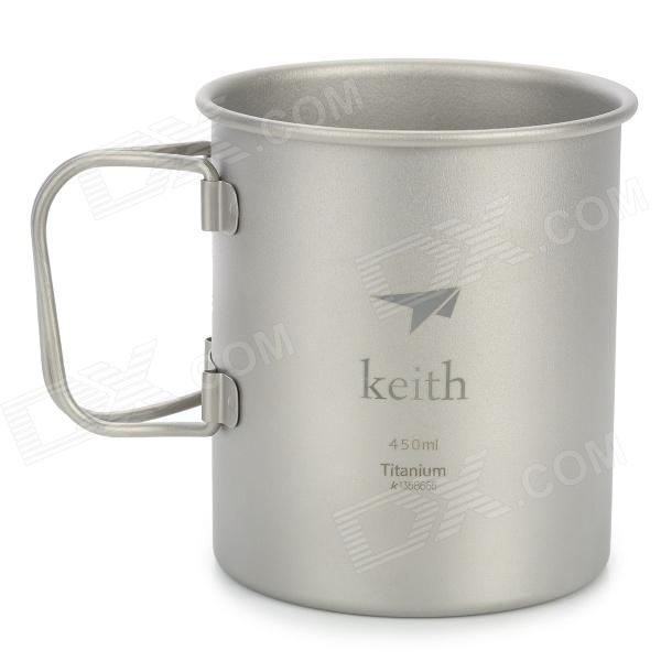 Keith KS810 Camping Travel Titanium Mug - Silver (450ml)