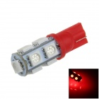 T10 / 194 / W5W 2W 200lm 9 x SMD 5050 LED Red Car Side Light / Signal / Reading lamp - (12V)