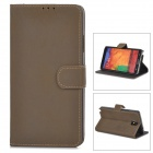 Protector de cuero de la PU Flip-Open Case para Samsung Galaxy Note N9000 3 - Dark Brown