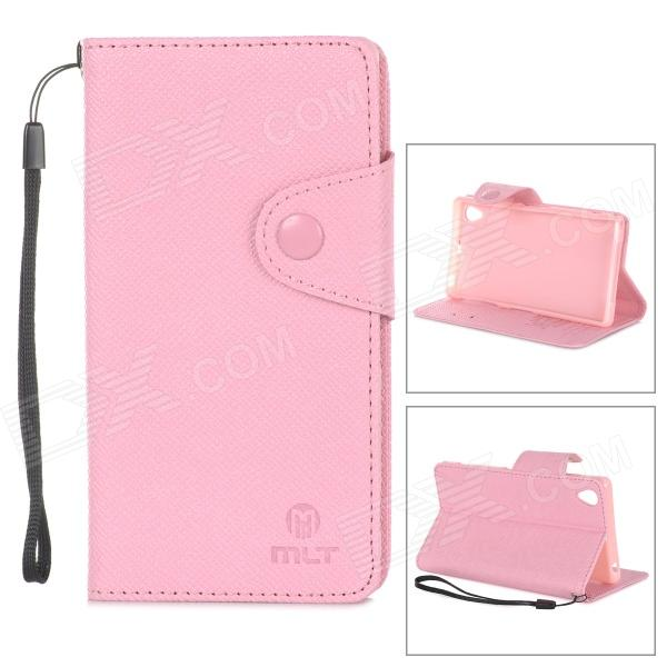 Cross Pattern Protective PU + TPU Case w/ Holder / Strap for Sony Xperia Z1 / L39h - Pink temei ultrathin protective tpu back case for sony xperia z1 l39h deep pink
