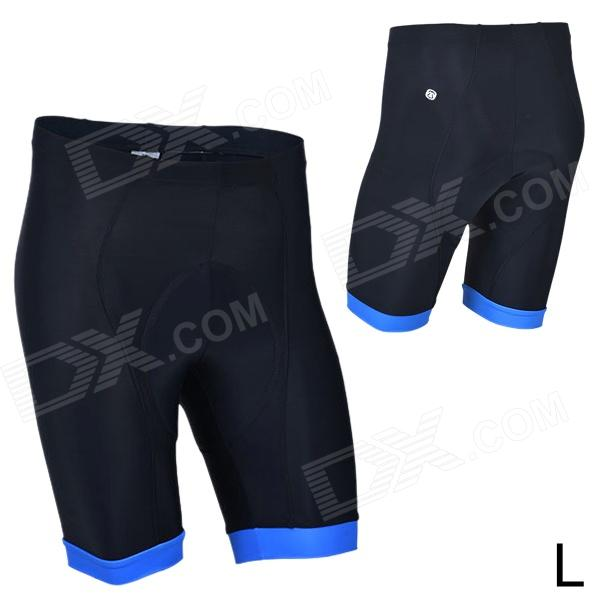MONTON 11312114 Cycling Polyester + Fiber Thicken Pad Short Pants for Men - Black + Blue (L)