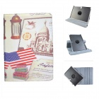 Antique Grain Protective 360 Degree Rotation PU Leather Case for Samsung P600 / P601- American flag