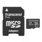 Transcend TF600X UHS-I Micro SDHC / TF Memory Card w/ SD Adapter (8GB / Class 10)
