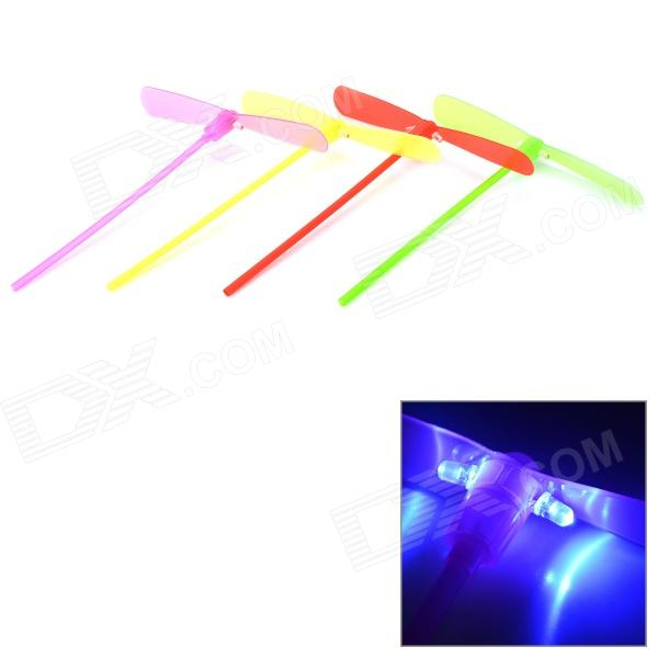Plastic Bamboo-copter Bamboo Dragonfly Toy w/ LED Light - Red + Yellow + Green + Pink (4 PCS) bamboo