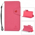 Protective PU Leather + TPU Case w/ Card Holder Slots / Strap for Sony Xperia Z1 L39h - Deep Pink