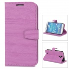 Wood Pattern Protective Flip Open PU Leather Case w/ Stand for Samsung S4 i9500 - Purple