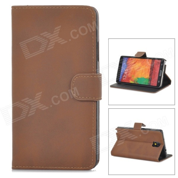Protective PU Leather Case for Samsung Galaxy Note 3 N9000 - Brown metal ring holder combo phone bag luxury shockproof case for samsung galaxy note 8