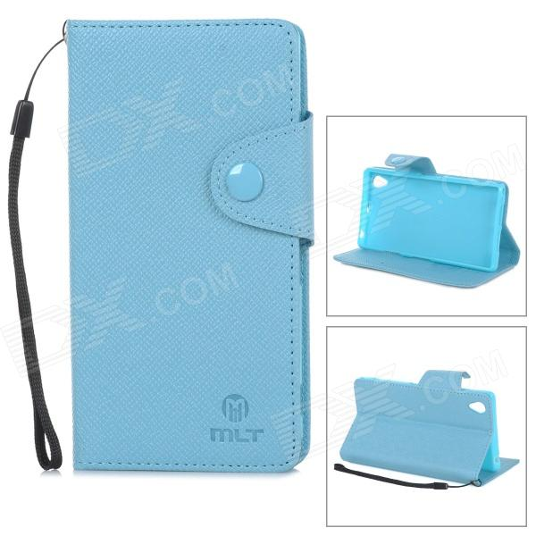 Protective PU Leather + TPU Case w/ Card Holder Slots / Hand Strap for Sony Xperia Z1 L39h - Blue
