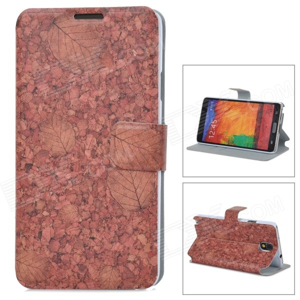 Leaves Style Protective PU Leather Case for Samsung Galaxy Note 3 N9000 - Red Brown