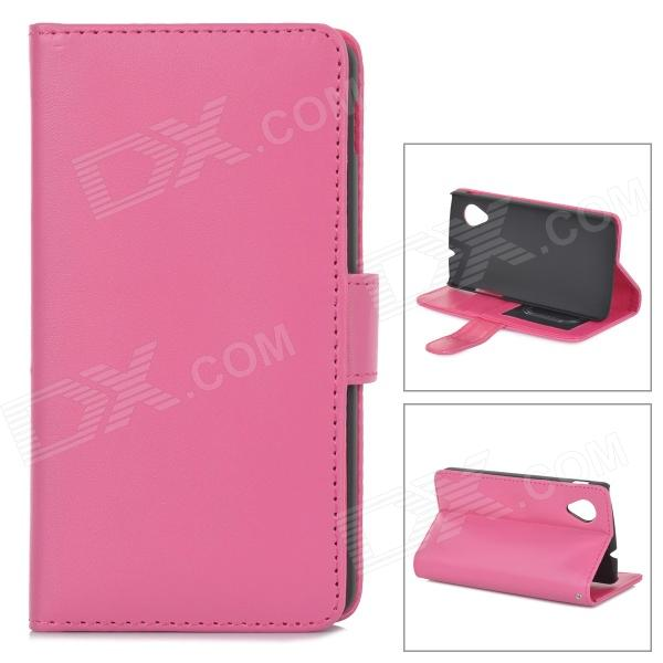 Protective PU Leather Case w/ Card Holder Slots for LG Nexus 5 - Deep Pink s pattern protective plastic case for lg nexus 5 e980 translucent grey