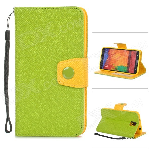 Protective PU Leather Case for Samsung Galaxy Note 3 N9000 - Green + Yellow metal ring holder combo phone bag luxury shockproof case for samsung galaxy note 8
