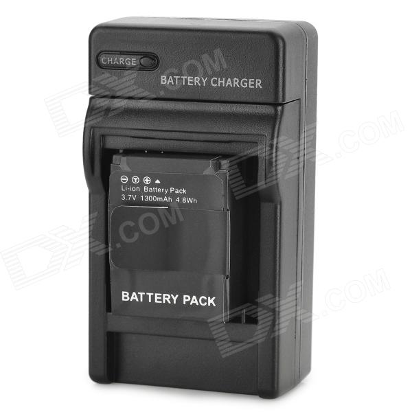 Replacement 3.7V 1300mAh Battery w/ US Plug Charger for GoPro Hero 3/3+ - Black