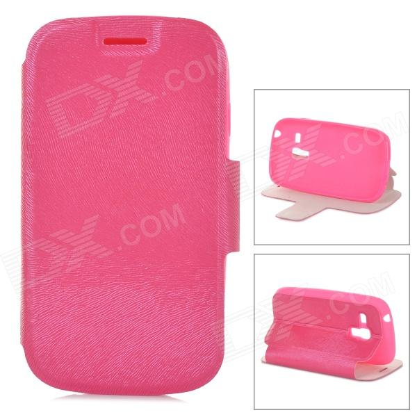Stylish Protective PU Leather + TPU Case for Samsung Galaxy S3 Mini i8190 - Deep Pink protective pu leather plastic case w display window for samsung galaxy s4 mini deep pink