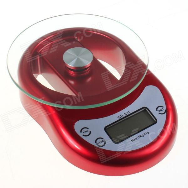 WH-B11 1.8 LCD Digital Kitchen Scale w/ Countdown Reminder Timer - Red (5kg / 1g / 2 x AAA) 1 8 lcd portable jewelry digital pocket scale 500g 0 1g 2 x aaa