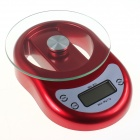"WH-B11 1.8"" LCD Digital Kitchen Scale w/ Countdown Reminder Timer - Red (5kg / 1g / 2 x AAA)"