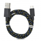 Micro USB Male to USB Male Nylon Data Charging Cable for Samsung Tablet PC - Black + Yellow (100 cm)