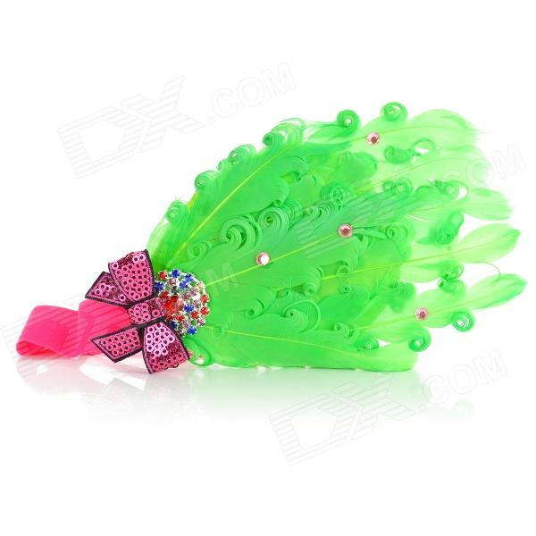 TOP BABY TSS-004 Princess Style Feather Headband Headdress for Kids - Green + Multicolored saq high voltage board w cable for tube of 10 22 lcd monitor green multicolored