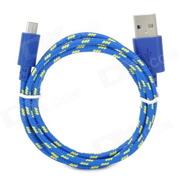 Micro USB Male to USB Male Nylon Data Charging Cable for Samsung Tablet PC - Blue + Yellow (100 cm) flat micro usb male to usb 2 0 male data sync charging cable for samsung more purple 100cm