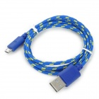 Micro USB Male to USB Male Nylon Data Charging Cable for Samsung Tablet PC - Blue + Yellow (100 cm)