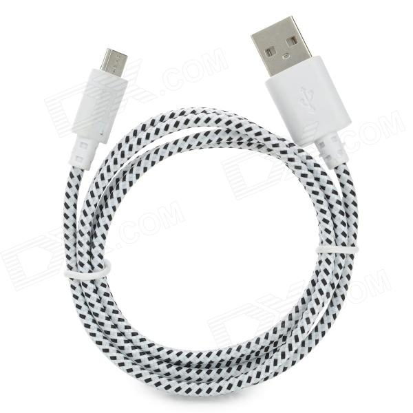 Micro USB Male to USB Male Nylon Data Charging Cable for Samsung Tablet PC - Black + White (100 cm) flat micro usb male to usb 2 0 male data sync charging cable for samsung more purple 100cm