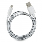 Micro USB Male to USB Male Nylon Data Charging Cable for Samsung Tablet PC - Black + White (100 cm)