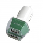 Smart Dual USB Car Cigarette Lighter Charger Adapter for Iphone - White + Green (12~24V)