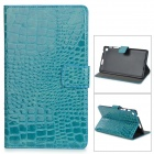 Protective Alligator Pattern PU Leather Case w/ Card Slot for Google Nexus 7 II - Aquamarine