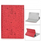 "Protective Magic Gril Pattern PU Leather Case for Universal 7"" Tablet PC - Red + Brown"