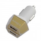 Smart Dual USB Car Cigarette Lighter Adapter Charger for Iphone - White + Yellow (12~24V)