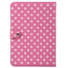 Dot Pattern PU Leather + Plastic Protective Case for Calaxy Note 10.1 N8000 - Pink + White