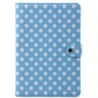 Dot Pattern PU Leather + Plastic Protective Case for Calaxy Note 10.1 N8000 - Light Blue + White