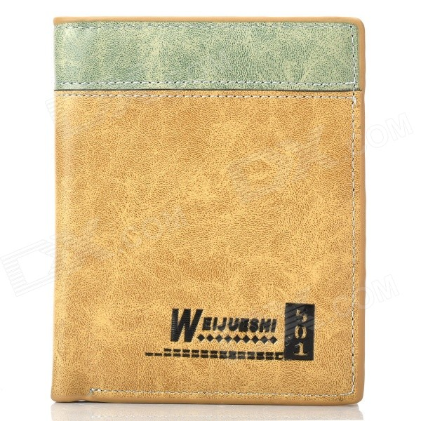 WEIJUESHI 802A123-2# Short PU Leather Men's Wallet - Yellowish Brown + Blackish Green