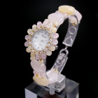 EANA WA03006DE Pure Natural Rose Quartz and Topaz Fashionable Women's Bracelet Watch - Pink + Beige