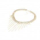 Exaggerated Resplendent Rhinestone Tassels Necklace - Golden + Ivory