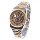 Winner Rome Numerals Stainless Steel Mechanical Analog Wrist Watch - Golden + Silver