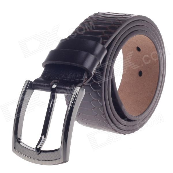 Rich Age Vogue Snake Pattern Men's Head Layer Cowhide Leather Belt w / Zinc Alloy Pin Buckle pouchkan stylish cow leather men s belt with zinc alloy buckle black