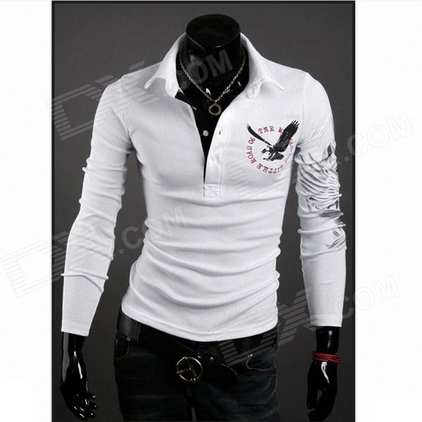 Men's Slim Lapel With Long Sleeves POLO Shirt - White (L)
