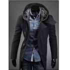 Men's Stylish Slim Woolen Hooded Coat - Black (XL)