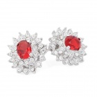 KCCHSTAR Flower 18K Platinum Crystal Earrings w/ Artificial Diamond - Red + Silver (Pair)