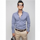 Mr.cc Stylish Men's Slim Cotton Grid Long Sleeve Shirt - Blue (Size-L)