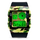 SKMEI 0841 30m Waterproof 7-Color Backlit Conversion LED Electronic Watch - Camouflage + Black