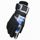KINEED L1306 Universal Fashionable Men's Thicken Warm Ski Gloves - Black + Blue (Pair / Size-L)