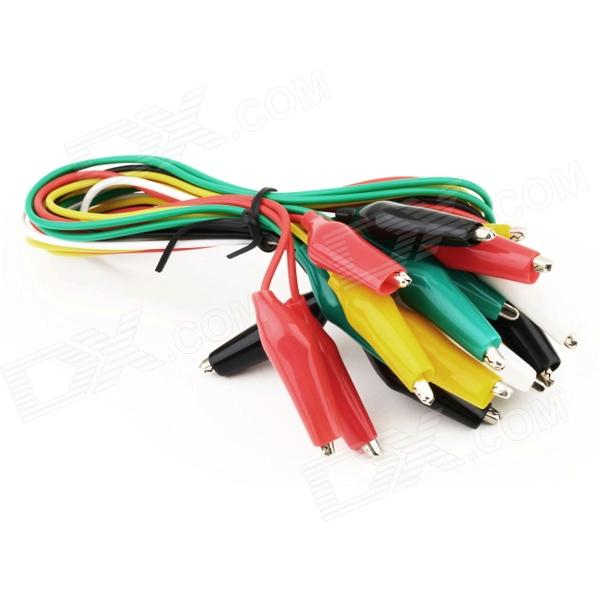 Alligator Positive + Negative Battery Clamp Cables (10-Piece Pack) 1meter red 1meter black color silicon wire 10awg 12awg 14awg 16 awg flexible silicone wire for rc lipo battery connect cable