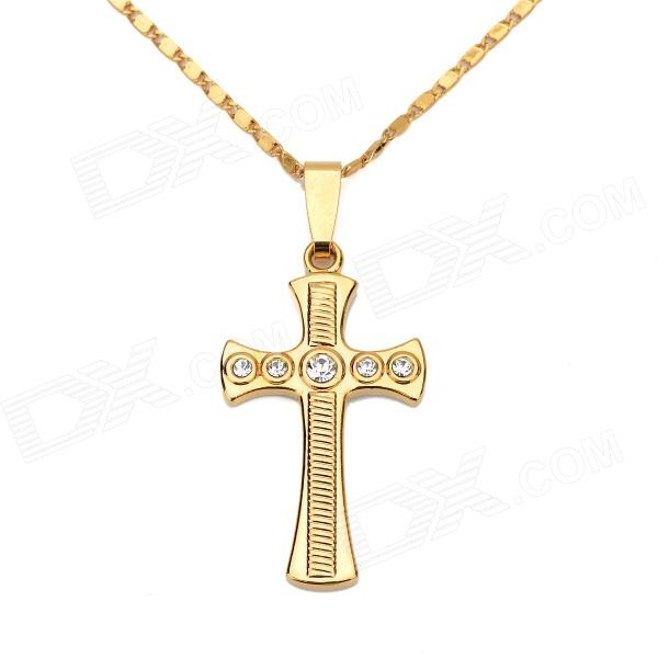 KCCHSTAR High-Quality Fine Copper Electroplating 24K Gold Cross Pendant Necklace - Golden + White kcchstar high quality fine copper electroplating 24k real gold thick necklace golden