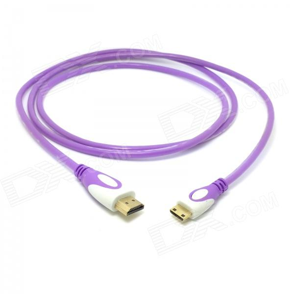 CY HD-139-PU HDMI 1.4 Male to Mini HDMI Male Adapter Cable for Phone Tablet PC - Translucent Purple cy hd 139 bk hdmi v1 4 male to mini hdmi male adapter cable for tablet pc translucent black