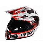 BEON LBC High-Grade Cross-Country Motorcycle Helmet - White + Red (Size L)