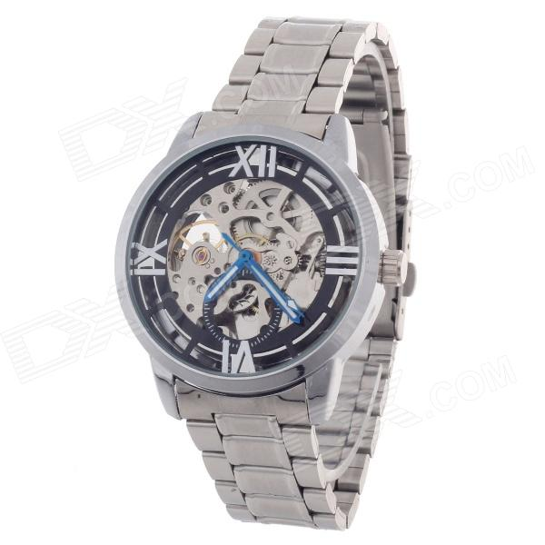 Winner Fashionable Hollow Out Style Automatic Mechanical Glamour Men's Wrist Watch - Silver