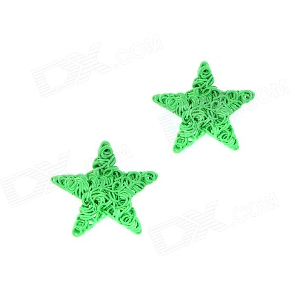 Fashionable Fluorescent Star Pattern Earrings - Green