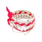 Fashionable Butterfly Knot of Multilayer Pattern Bracelet - Golden + Red