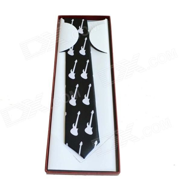 DEDO MG-361 Boutique Gentleman Guitar Design Tie for Men - White + Black настенные часы hermle 70963 030341